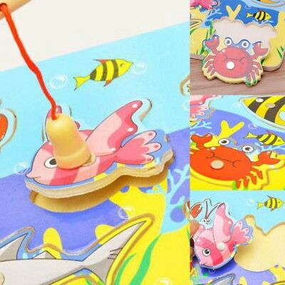 3D Wooden Jigsaw Puzzle Board Magnetic Fishing Game Kid Toddler Intellectual Toy