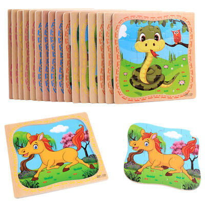 16PCS Wooden Puzzle Jigsaw Animals Toddler Kids Early Learning Educational Toy