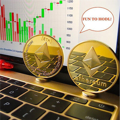 Gold Plated Ethereum Coin Collectible Gift ETH Coin Art Collection Physical