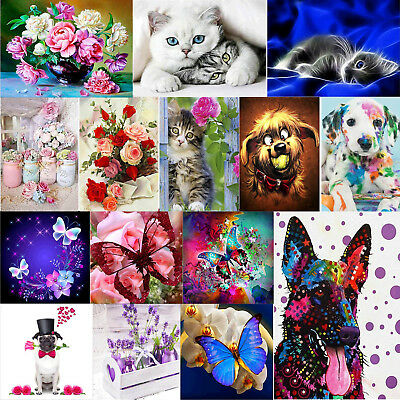 5D DIY Hund Rose Diamant Malerei Diamond Painting Kreuzstich Stickerei Bilder