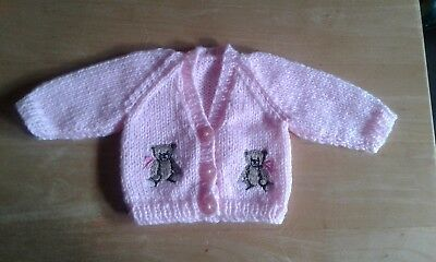 Prem premature baby cardigan hand knitted girl pink with embroidered teddies
