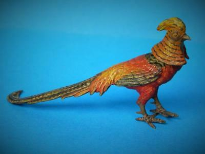 Antique Austrian Franz Bergmann Cold Painted Bronze Golden Pheasant