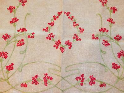Antique VIntage Embroidered Linen Lace LAYOVER PILLOW SHAM Red Floral Ecru 19x23