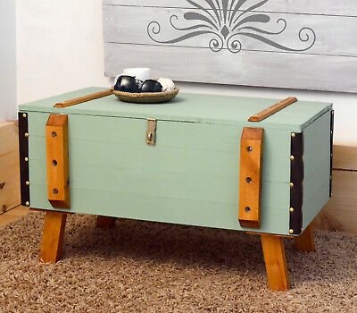 Vintage Wooden pine chest trunk blanket box rustic coffee table steamer green