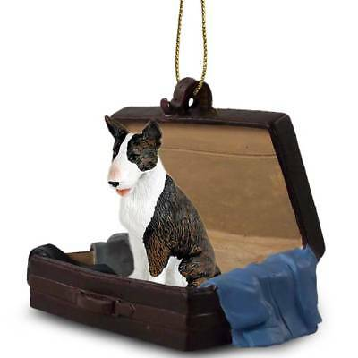 Bull Terrier Brindle Traveling Companion Dog Figurine In Suit Case Ornament