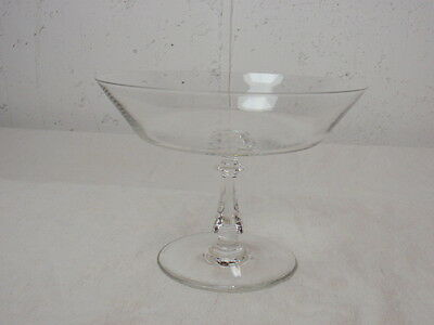 Val St Lambert Crystal Pedestal Dish Compote Clear Art Glass Concerto Signed MCM