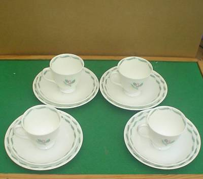 4 SUSIE COOPER 1960s BONE CHINA FRAGRANCE PATTERN TRIOS (CUP, SAUCER & TEAPLATE)