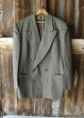 "Vtg Gray Double Breasted Suit Sport Coat Jacket * 1930's  40's  50's * 46"" Chest"