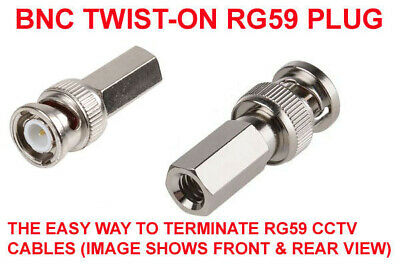 10 PACK BNC Twist Screw ON Plug Male Connector 75Ω  for CCTV RG59 Coaxal Cable