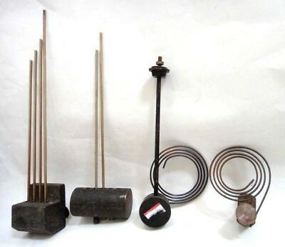 LOT vintage CLOCK PARTS repair service weight spring mechanism chimes 4pc