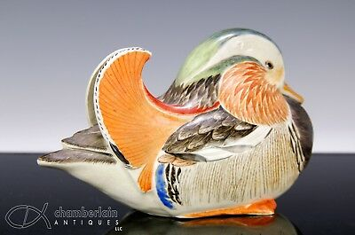 Old Japanese Pottery Mandarin Duck Statue With Signature