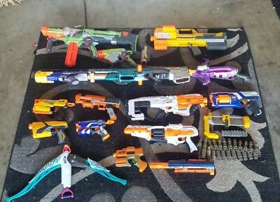 Huge NERF Lot of 15 guns plus accesories Deploy CS 6 Vortex Doomlands Longshot