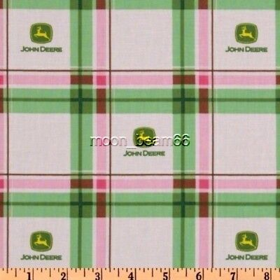7 8 Yard 32 John Deere Tractor Green Yellow Plaid Logo Cotton