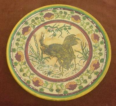 LARGE 12.75ins LATE VICTORIAN FAIENCE POTTERY BIRD DESIGN CHARGER / PLATTER