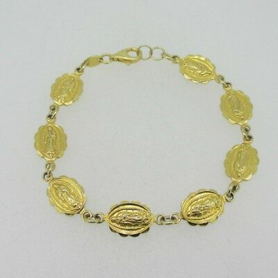 Sterling Silver Gold Plated Miraculous Medal Catholic Bracelet