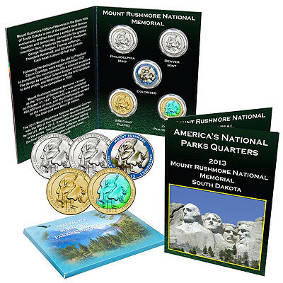 2013 Mount Rushmore National Park Quarter Collection Uncirculated and Enhanced