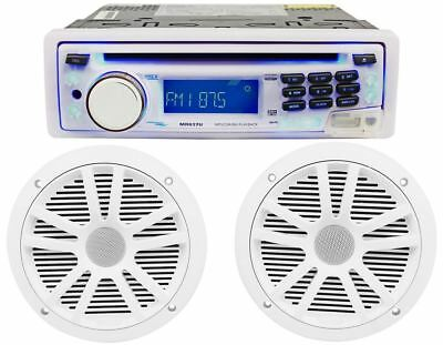 "Boss MR637U Marine Boat CD/MP3 Player AM/FM Receiver USB/SD + Pair 6.5"" Speakers"