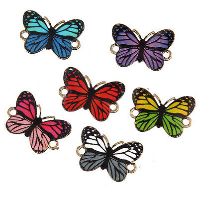 10x Mixed Random Color Butterfly  Beads Alloy Connector Fit Bracelet 26*18mm