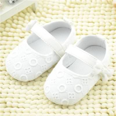 Cute Infant Kid Baby Embroidered Crib Shoes Bowknot Soft Sole Casual Flats Shoes