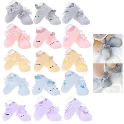 3 Pairs of Baby Girls Socks Bow Lace Newborn Infant Sock Cotton Short Socks