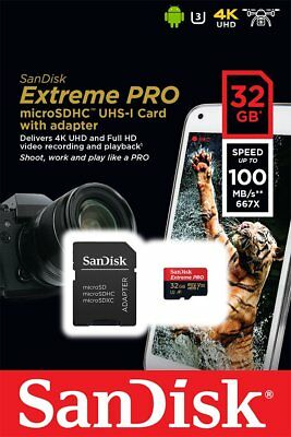 SanDisk Extreme Pro microSDHC 32GB Class 10 UHS-I U3 V30 100 MB/s MEMORY CARD