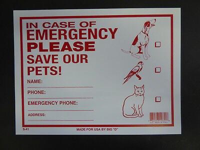 In Case Of Emergency Please save our Pets Dog Cat Pet Rescue Alert Sign 9x12 S41