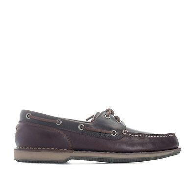 Mens Rockport Perth Tan Boat Shoe In Brown- Lace Fastening- Non-Marking Outsole-