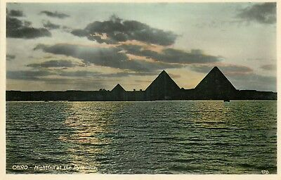 EGYPTE le caire CAIRO nighffall at the pyramids