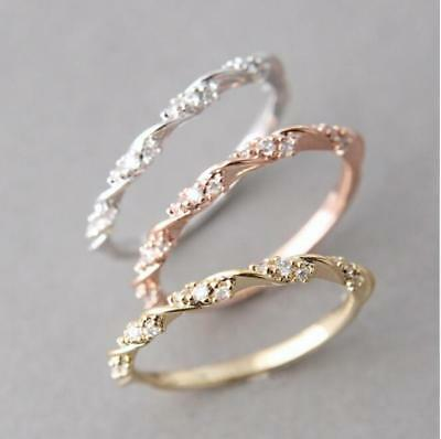 Women 14K Solid Rose Gold Stack Twisted Ring Wedding Party Jewelry Gifts