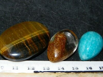3 Nice Cut Polished Mineral Cabs 160cts Tigereye/Amazonite/Rutilated Quartz