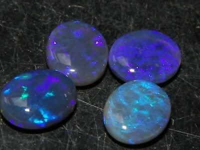 4 Lightning Ridge Crystal Opal Cabs 7.93cts 10x8mm Blue/Purples Ring/Pendant :)