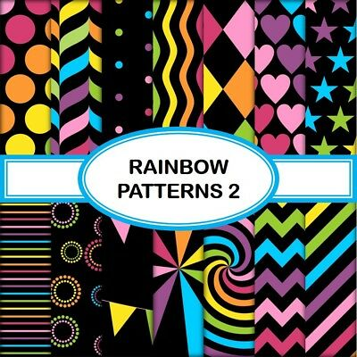 RAINBOW PATTERNS 2 SCRAPBOOK PAPER - 14 x A4 pages