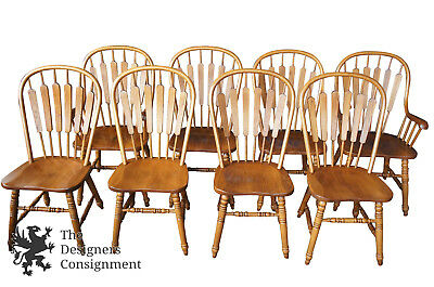 8 Richardson Brothers Oak Windsor Country Style Dining Room Chairs Spindle Vtg