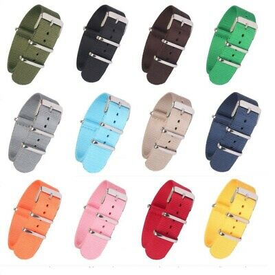 New Strong 18 20 22mm Solid Color Nato Nylon Watch Strap Wristwatch Band Buckle
