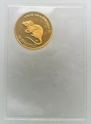 1984 1/10 OZ SINGAPORE MOUSE 10 SINGOLD .9999 FINE Sealed