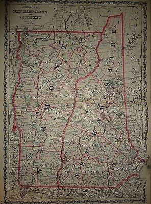 Vintage 1861 NEW HAMPSHIRE - VERMONT MAP Old Antique Original Atlas Map 40218