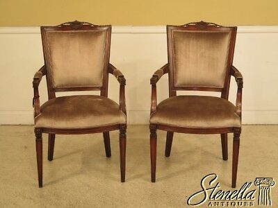 L42103: Pair French Louis XVI Style Mahogany Arm Chairs