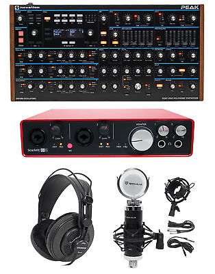 Novation Peak MIDI USB Synthesiser+Scarlett Interface+Headphones+Microphone