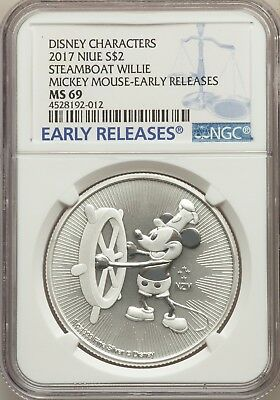 2017 NIUE Disney Mickey Mouse Steamboat Willie S$2 Early Releases MS 69 Silver