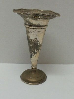 Vintage Elgin El Sil Co Sterling Silver Reticulated Ruffle Trumpet Vase