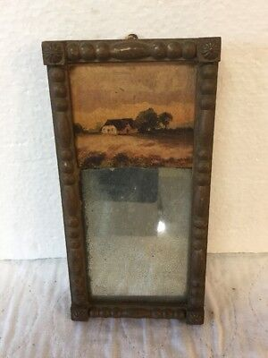 Antique Small 2 Part Victorian Mirror With Landscape Artwork Print
