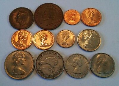 New Zealand Lot Of 12 Coins 1/2, 1 Penny, 1, 2, 5, 10, 20 Cents, Florin Shilling