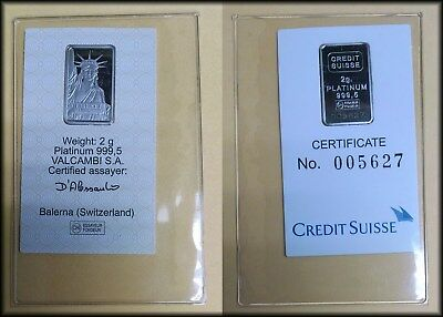 Credit Suisse PLATINUM 2 gram Bar State of Liberty - BINo