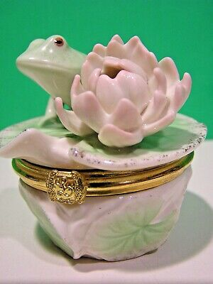 LENOX FLORAL FROG TREASURE BOX NEW in BOX with COA