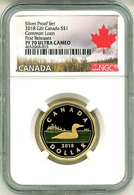 2018 Canada S$1 Gilt Loonie Common Loon .9999 Silver Proof Set FR NGC PF70 UC