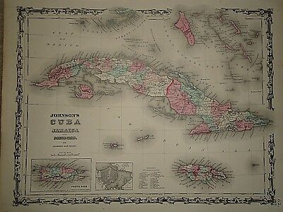 Vintage 1861 CUBA  JAMAICA - PORTO RICO MAP Old Antique Original Atlas Map 40218