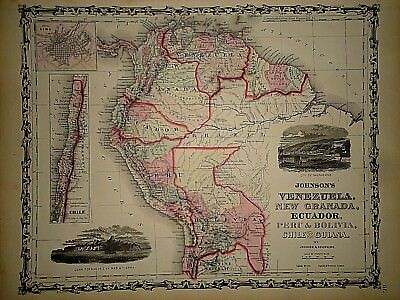 Vintage 1861 VENEZUELA PERU ECUADOR  MAP Old Antique Original Atlas Map 40218