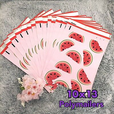 100 Watermelon Designer Poly Mailers, Plastic Envelopes Shipping Bags Polymailer