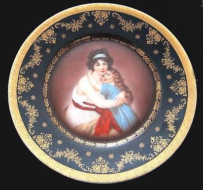 """Exquisite  Royal Vienna Mother And Daughter Portrait Plate Beehive Mark 10"""""""