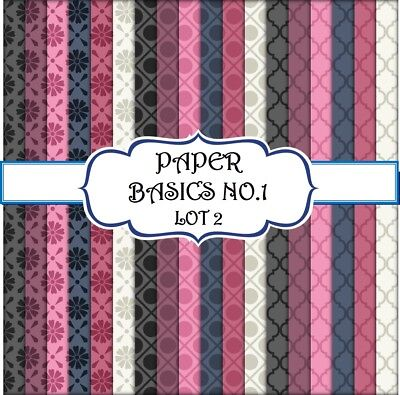 PAPER BASICS 1 - LOT 2 SCRAPBOOK PAPER - 18 x A4 pages